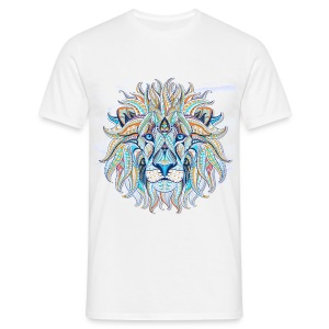 stock vector patterned head of the lion on the gru - Camiseta hombre
