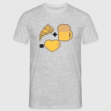 corazón pizza comida hambre delicioso pareja parej - Camiseta hombre