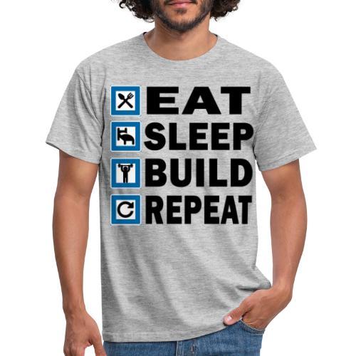 EAT SLEEP BUILD REPEAT - T-shirt herr