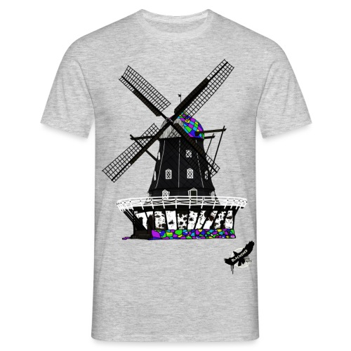 Windmill by BlackenedMoonArts, with logo - Herre-T-shirt