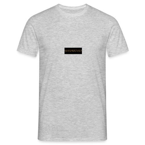 orange writing on black - Men's T-Shirt
