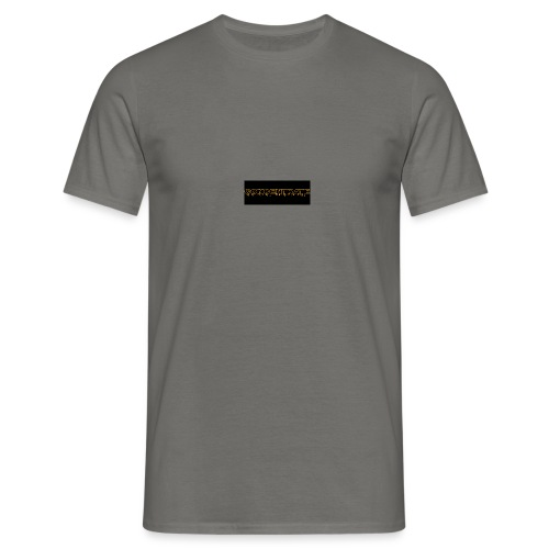 orange writing on black - Men's T-Shirt