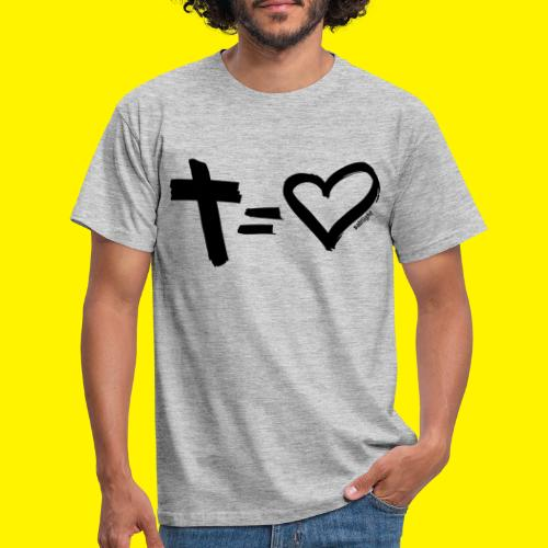 Cross = Heart BLACK - Men's T-Shirt