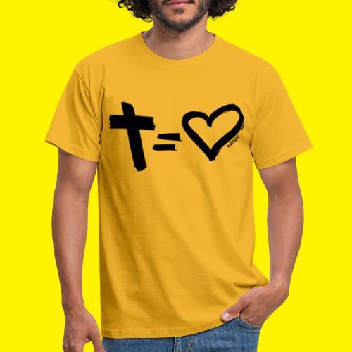 Cross = Heart BLACK - Men's T-Shirt