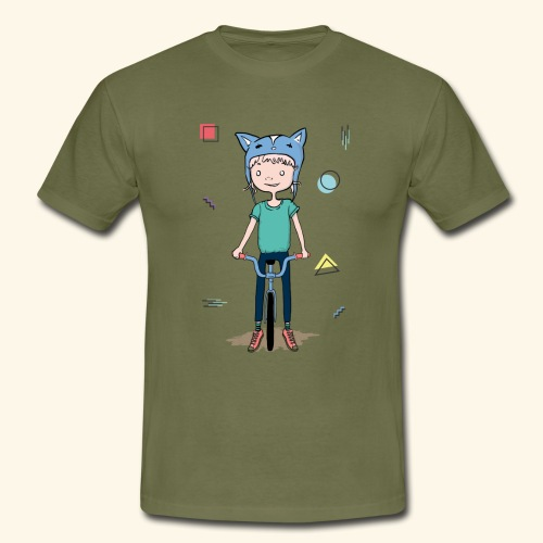 Girl with a cat hat on a bike - 90's - T-shirt Homme