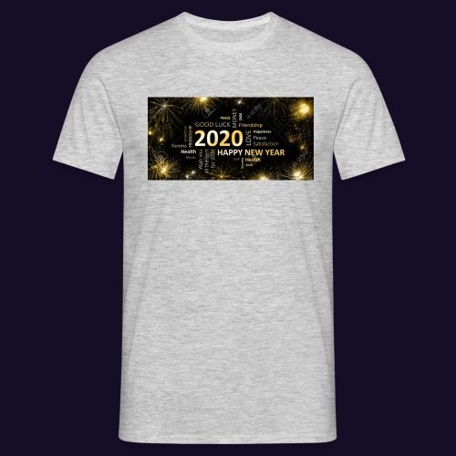 90911595 black golden new year card with happy new - Männer T-Shirt
