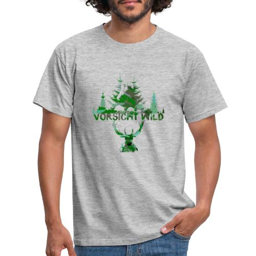 Vorsicht Wild, maske,wald, hirsch,malerei,bunt - Männer T-Shirt