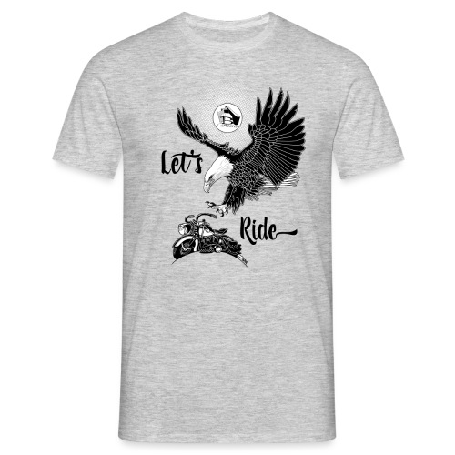 FRONT: 1 eagle 1 bike, BACK: 3 eagles 2 bikes. - Mannen T-shirt