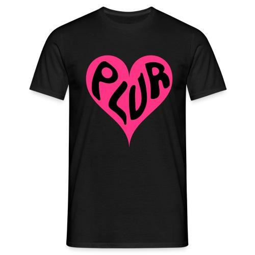 PLUR - Peace Love Unity and Respect love heart - Men's T-Shirt