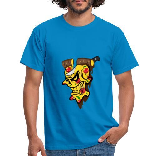 Pizza Schädel mit Messer - Männer T-Shirt
