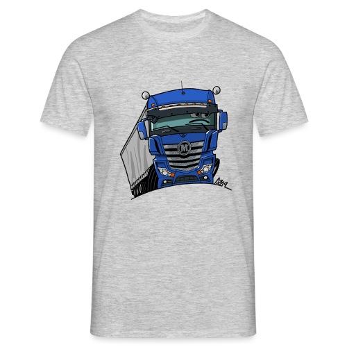 0807 M truck blauw trailer - Mannen T-shirt