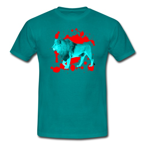 Löwe in Türkis - Männer T-Shirt