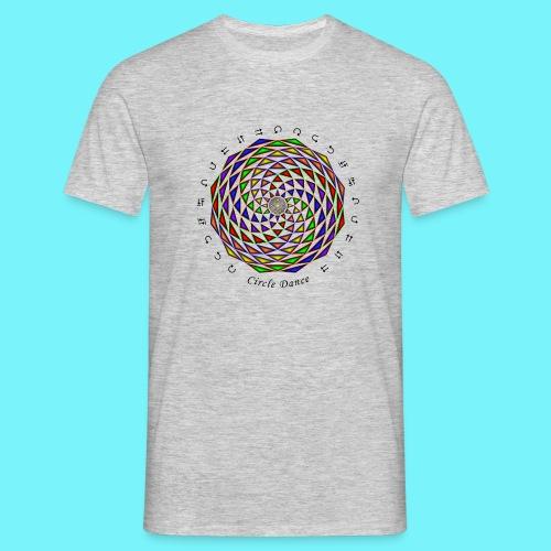 Mandala with Circle Dance words and glyphs - Men's T-Shirt