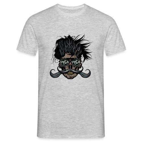 hipster skull tete de mort crane barbu moustache - T-shirt Homme