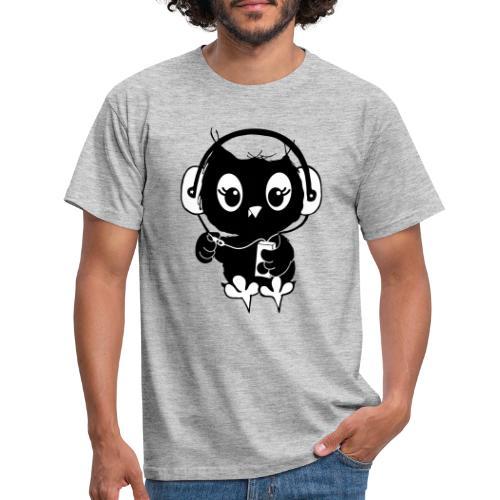 Eule Musik 3farbig - Männer T-Shirt