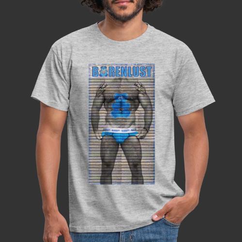 Bärenlust Motiv - Kerl auf Holzwand - Männer T-Shirt