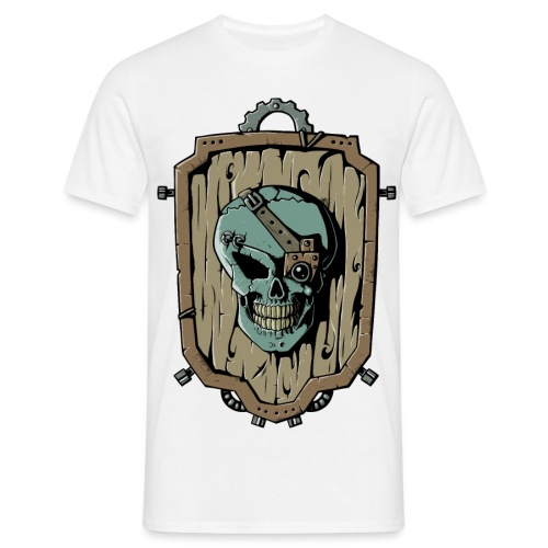Wooden Skull Shield - Männer T-Shirt