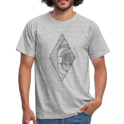 Full face mountain biker line drawing - Men's T-Shirt