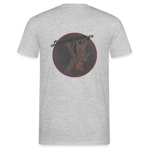 Licorne guitare metal Vintage fond gris - T-shirt Homme