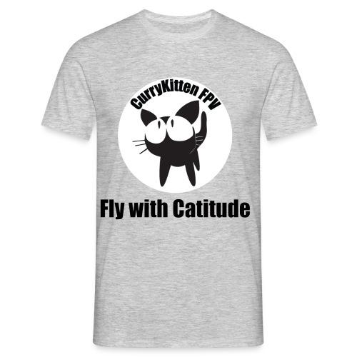 CurryKitten Logo - Fly with Catitude - Men's T-Shirt