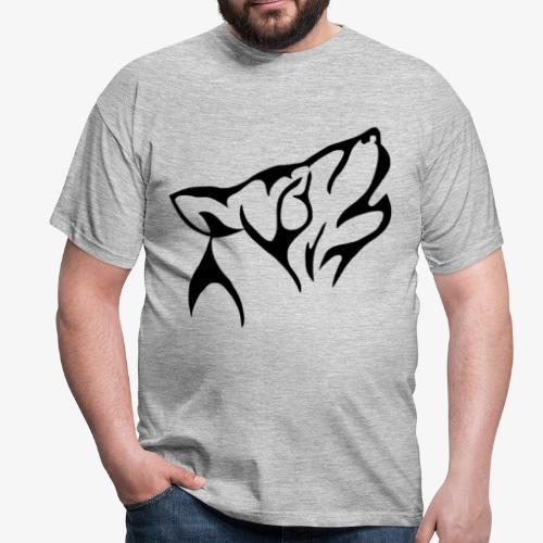 Tribal wolf howling - T-shirt herr