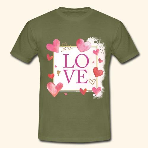 LOVE E HEARTS - Maglietta da uomo