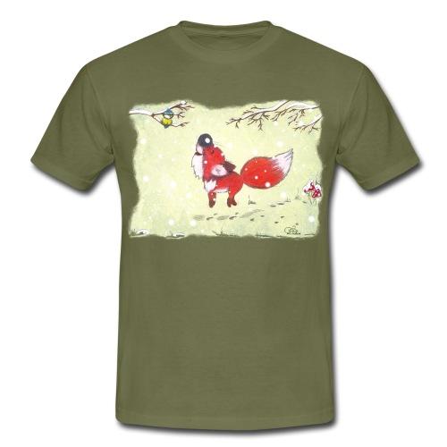 Hopsender Fuchs im Schnee - Männer T-Shirt