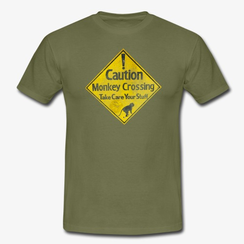 Caution Monkey Crossing - Männer T-Shirt