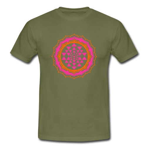 Sri Yantra - pink & orange - Herre-T-shirt