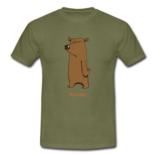 Odio lunedì scontroso orso lavoro ufficio pendolari - Maglietta da uomo