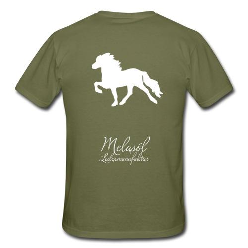 Großer Tölter & Melasól Logo auf dem Rücken weiß - Männer T-Shirt