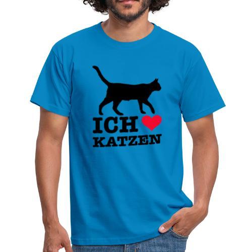Ich liebe Katzen mit Katzen-Silhouette - Männer T-Shirt