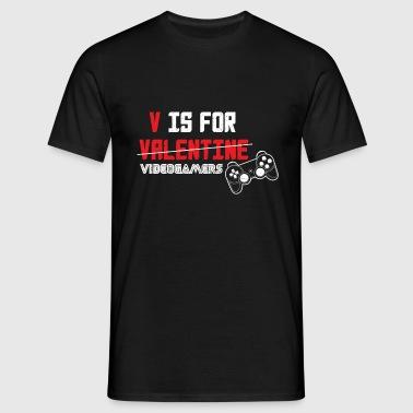 V is for Valentine videogamers .png - Männer T-Shirt
