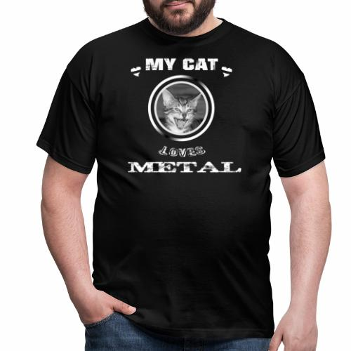My cat loves METAL - Männer T-Shirt