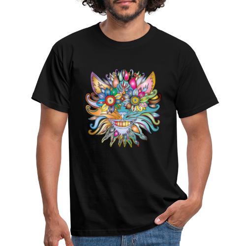 MonkeyShy visage en fleurs multicolores symétrique - T-shirt Homme