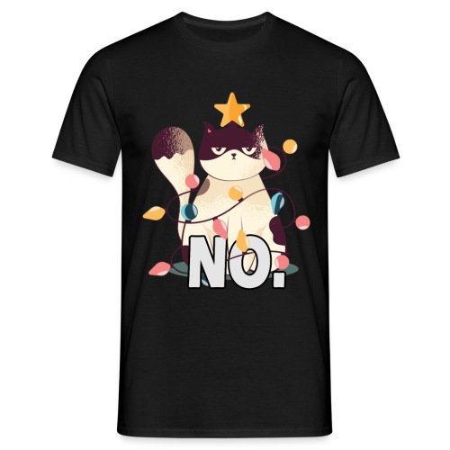 Traurige Katze Weihnachtsbaum Geschenk Lichter - Männer T-Shirt