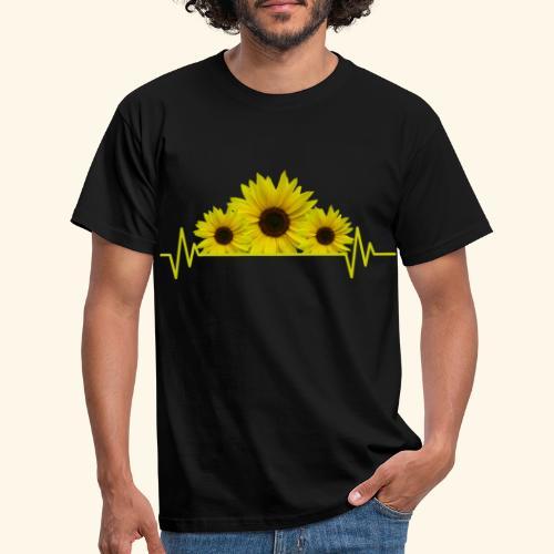 Sonnenblumen Herzschlag Sonnenblume Blumen Blüten - Männer T-Shirt