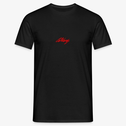 Cal Wardy Signature - Black T-Shirt - Red Font - Men's T-Shirt