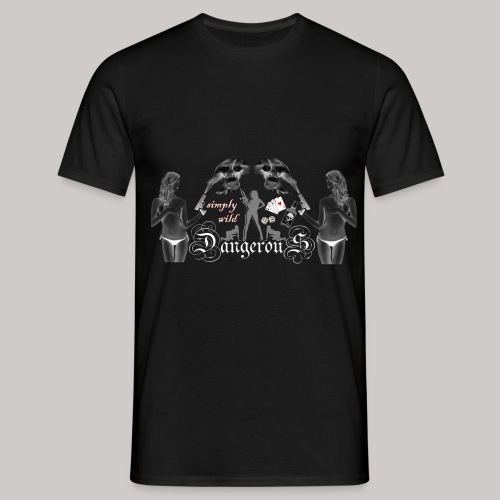 simply wild Dangerous on black - Männer T-Shirt