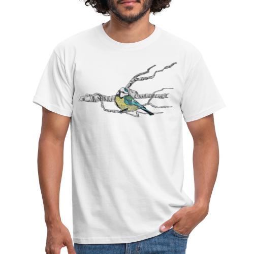 Blaumeise auf Ast - Männer T-Shirt