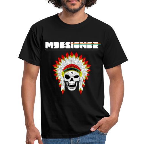 calavera o craneo con penacho de plumas vampiresco - Camiseta hombre