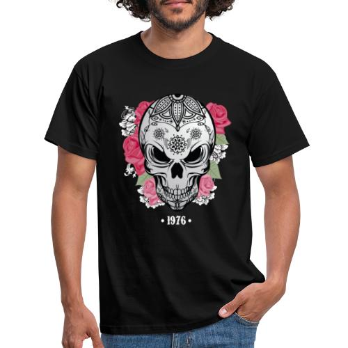 Tête de mort avec rose Biker - T-shirt Homme