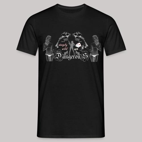 simply wild Dangerous on black - Männer T-Shirt