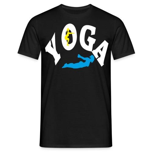 Yoga Schriftzug mit Posen Körperspannung Geschenk - Männer T-Shirt