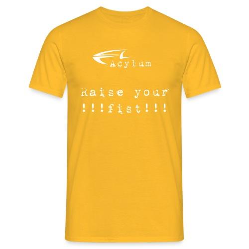 logo white raise your fist komplett - Men's T-Shirt