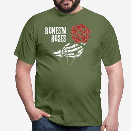Schädelknochen Rosen - Männer T-Shirt