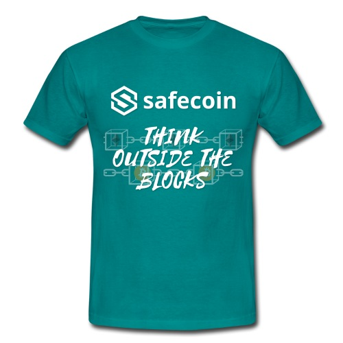 Safecoin Think Outside the Blocks (white) - Men's T-Shirt