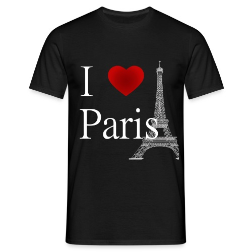 i Love Paris White Letters Light Grey Eiffel Tower - Men's T-Shirt