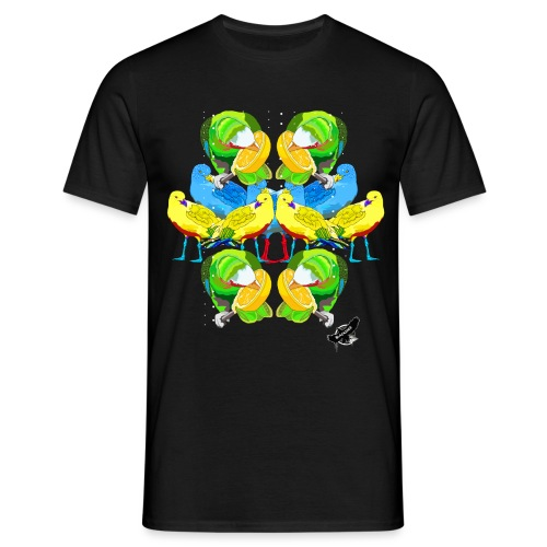 Birds Exotique by BlackenedMoonArts, w. logo - Herre-T-shirt