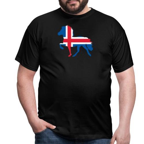 Island Pferd mit Flagge - Männer T-Shirt